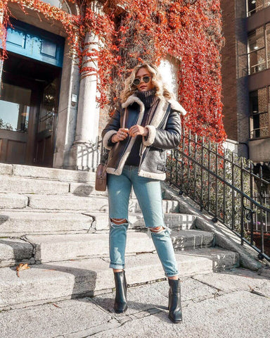 Shearling Jacket + Roll Neck Sweater + Mom Jeans + Booties