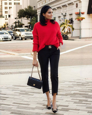 Bold Color Sweater + Capri Pants + Heels