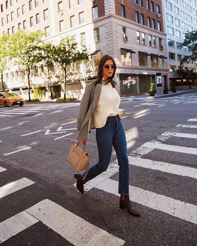 Check Blazer + Silk Blouse + High Waisted Jeans + Ankle Boots