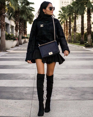 Teddy Sweater + A-line Skirt + Over the Knee Boots