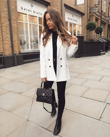 White Blazer + Black Top + Black Skinny Jeans + Black Boots