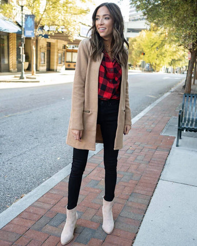 Camel Coat + Flannel Shirt + Skinny Jeans + Booties