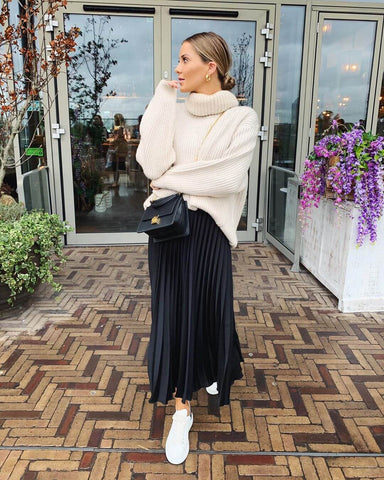 Roll Neck Sweater + Pleated Maxi Skirt + Sneakers