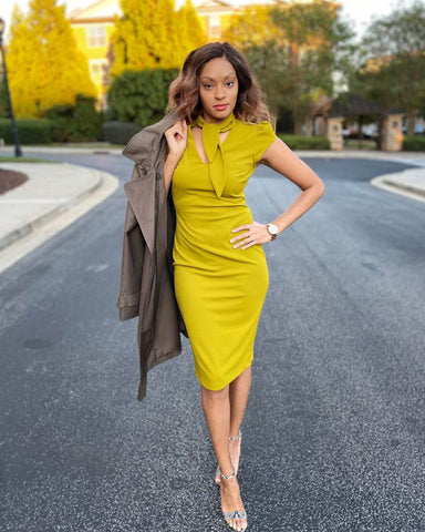 Trench Coat + Sheath Dress + Heels