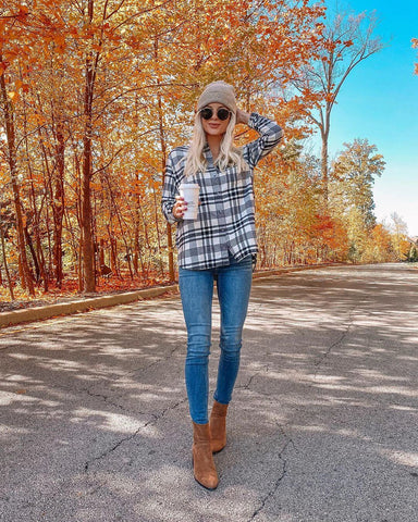 Flannel Shirt + Skinny Jeans + Booties