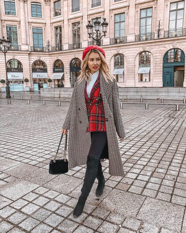 Tweed Blazer + Skinny Jeans + Over the Knee Boots