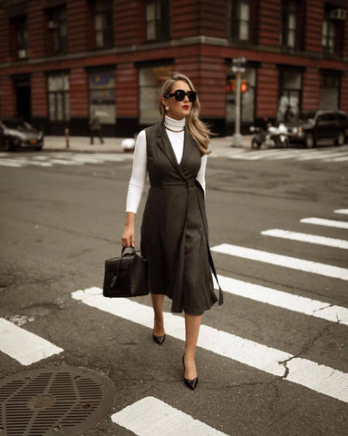 Turtleneck + Pinstripe Dress + Heels