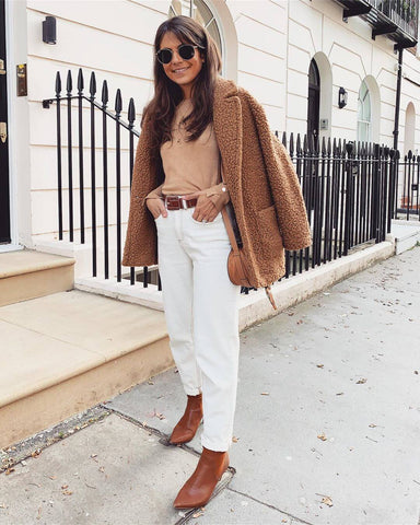 Teddy Coat + Long Sleeve Top + White Jeans + Ankle Boots
