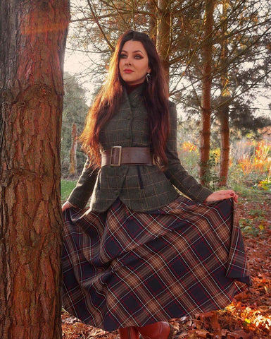 Tweed Coat + Wide Belt + Plaid Midi Skirt + Boots
