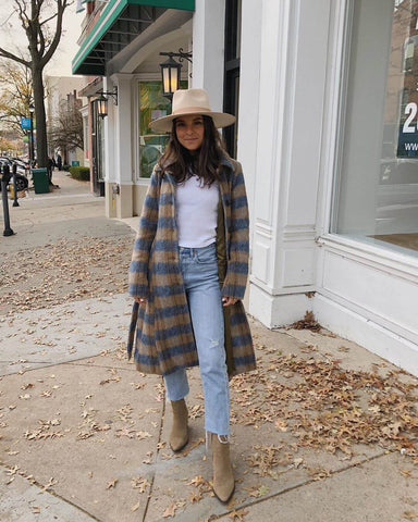 Fedora + Overcoat + White Tee + Mom Jeans + Ankle Boots