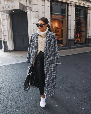 Plaid Coat + Roll Neck Sweater + Leather Pants + Sneakers