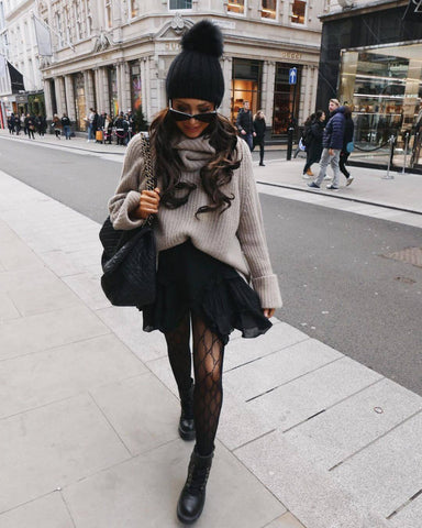 Beanie + Oversized Sweater + A-line Skirt + Tights + Combat Boots