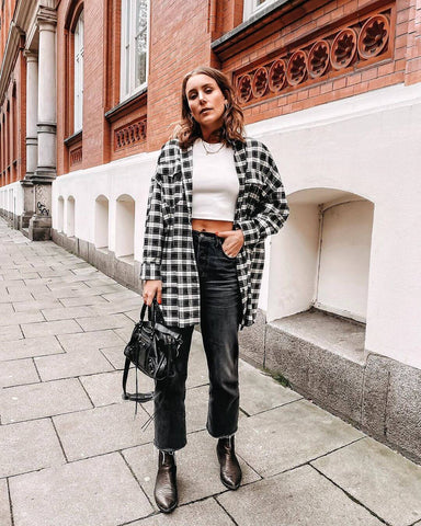 Oversized Flannel Shirt + Crop Knit + Wide Leg Jeans + Ankle Boots