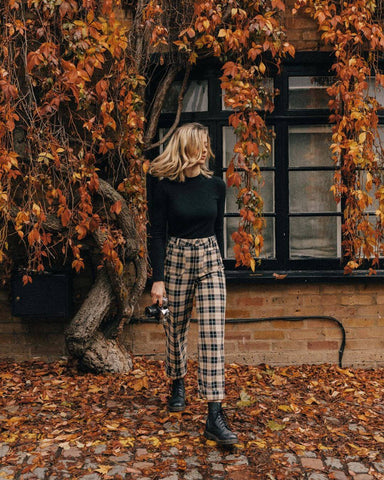 Long Sleeve Black Top + Plaid Pants + Combat Boots