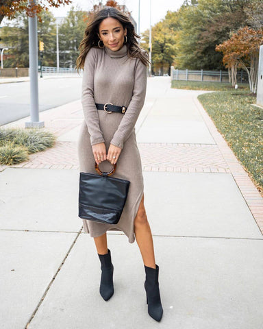 Knit Dress + Belt + Booties