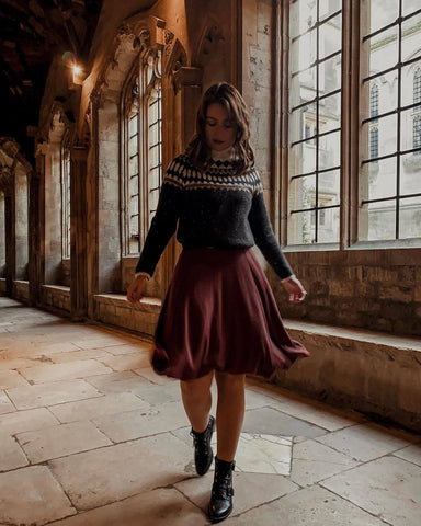 Dark Sweater + Burgundy Midi Skirt + Strappy Ankle Boots