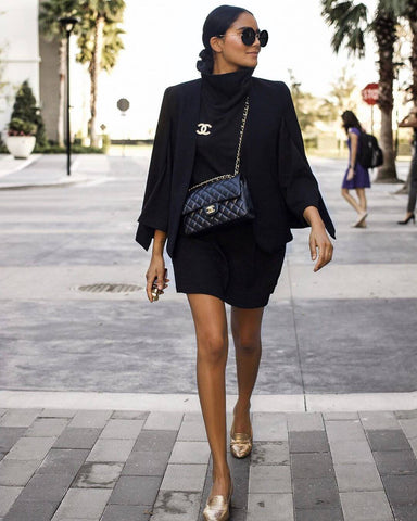 Knit Dress + Blazer + Flats