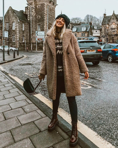 Beanie + Teddy Coat + Knitted Sweater + Skinny Jeans + Doc Martens