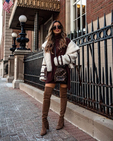 Shearling Jacket + Knit Dress + Over the Knee Boots