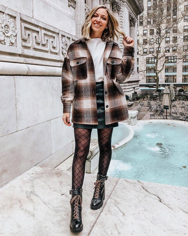 Flannel Shirt + White Tee + Leather Mini Skirt + Tights + Combat Boots