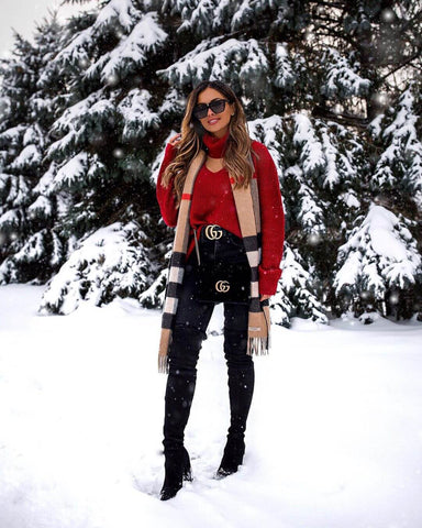 Rollneck Sweater + Scarf + Skinny Jeans + Over the Knee Boots