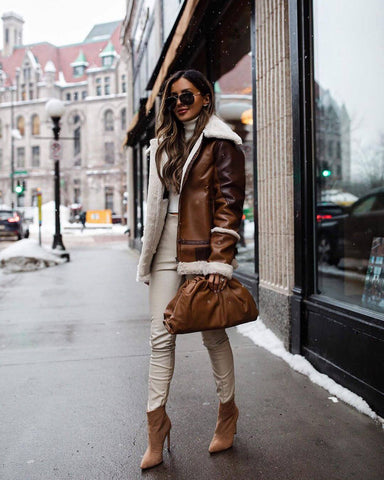 Shearling Jacket + Turtleneck + Trousers + Ankle Boots