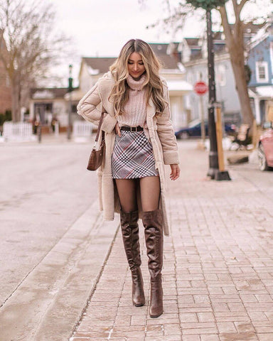 Overcoat + Roll Neck Sweater + Plaid Mini Skirt + Over the Knee Boots