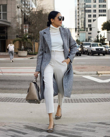 Tweed Coat + Turtleneck + High Waisted Trousers + Loafers