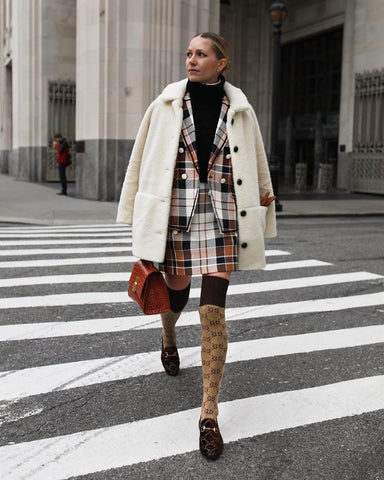Teddy Coat + Plaid Co-ord + Loafers