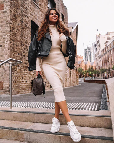 Biker Jacket + Knit Co-ord + Sneakers