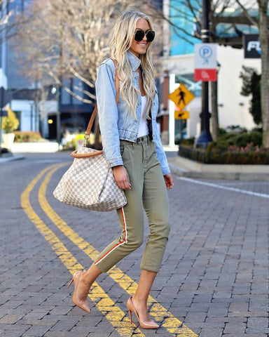 denim jacket and capri pants