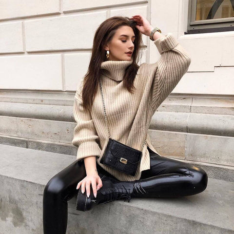 leather leggings and oversize sweater