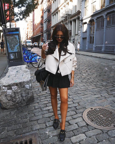 oversized jacket and mini skirt
