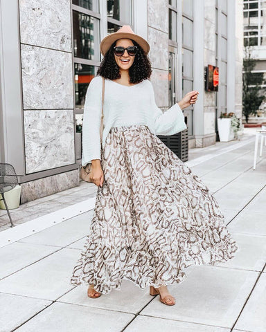 Sweater + Maxi Skirt + Block Heels
