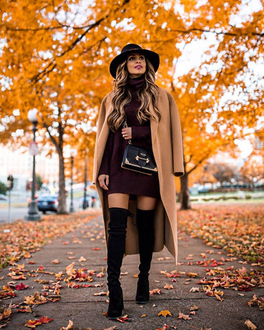 Sweater Dress + Over the Knee Boots