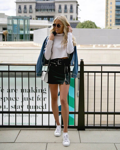 leather mini skirt and denim jacket
