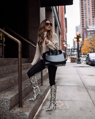 Chunky Knit Sweater + Skinny Jeans + Snakeskin Boots