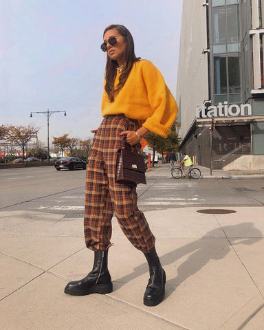 Oversized Sweater + Plaid Pants + Chunky Boots