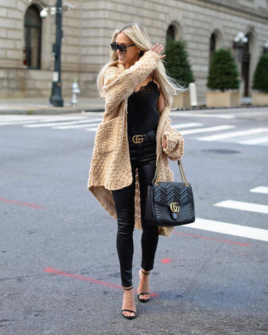 chunky knit sweater and silk cami