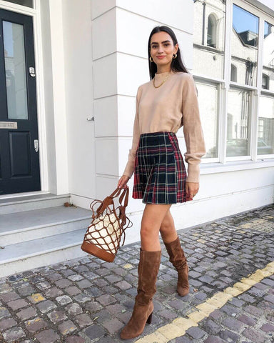 Sweater + Plaid Skirt + Knee High Boots