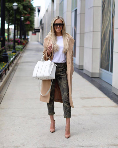 camel coat and cargo pants