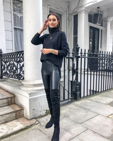 Leather Leggings + Sweater + Knee High Boots
