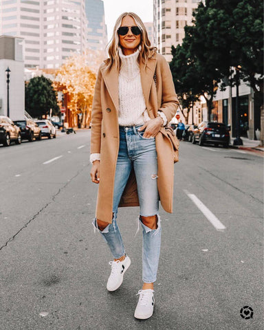 Roll Neck Sweater + Camel Coat + Ripped Jeans + Sneakers