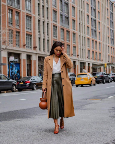 Pleated Midi Skirt + Heels