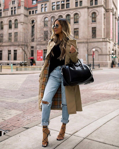 Ripped Jeans + Trench Coat + Heels
