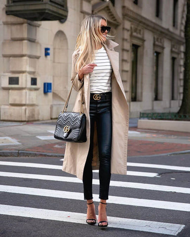 leather leggings and trench coat