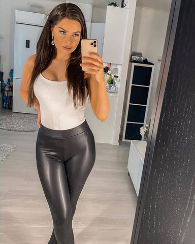 leather leggings and bodysuit