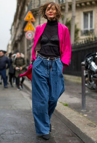 Fuchsia Coat + Baggy Jeans + Ankle Boots
