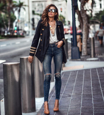 ipped Jeans + Double Breasted Coat + Heels
