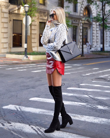 Cable Knit Sweater + Leather Skirt + Knee High Boots